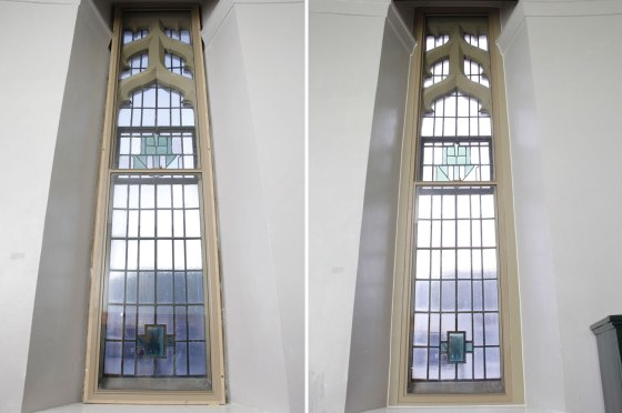 Fitting secondary glazing caused no disruption to the building and frames were colour matched to the stonework.